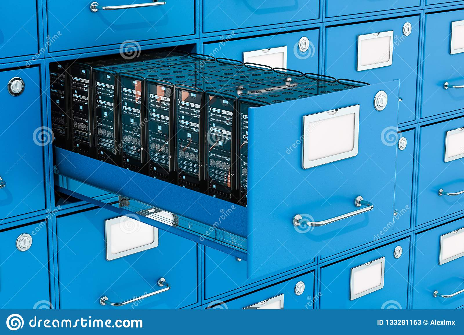 在档案橱柜的服务器机架 数据存储概念,3D renderi
