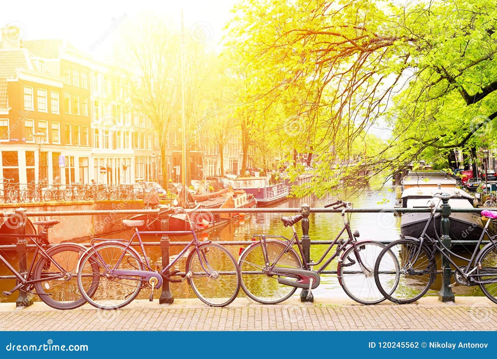 在桥梁的自行车在阿姆斯特丹,反对一条运河的荷兰有阳光的 阿姆斯特丹明信片 蓝色汽车城市概念都伯林映射小的旅游业