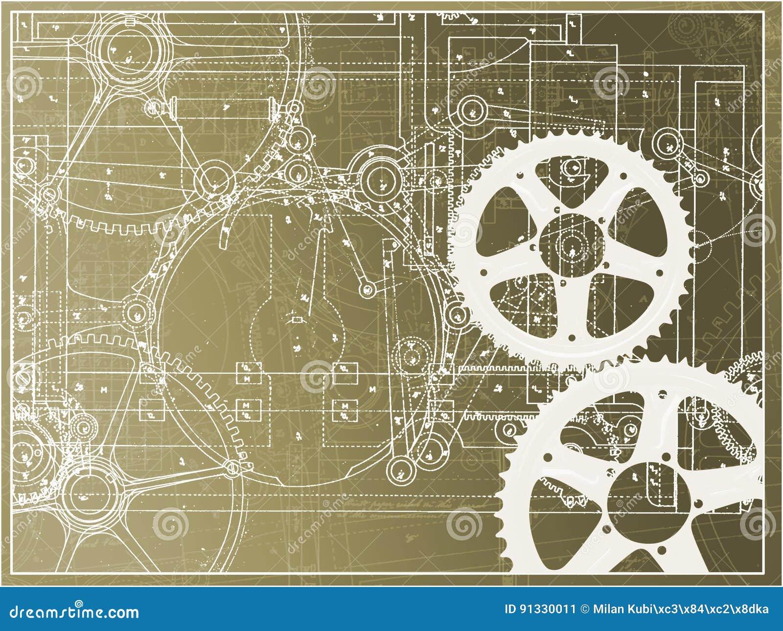 在梯度的技术计划例证齿轮机器产业