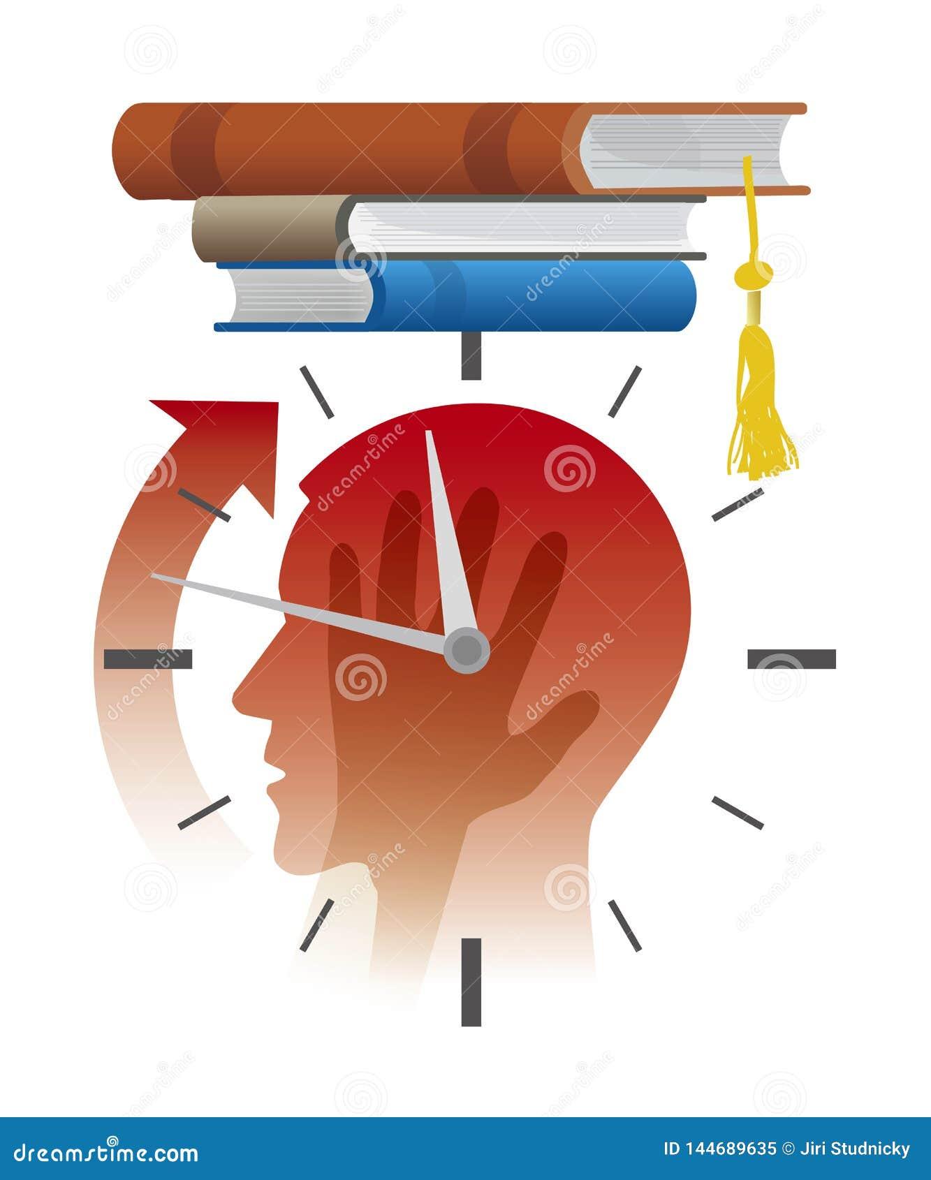 在检查前的紧张的学生,最后期限概念,动画片