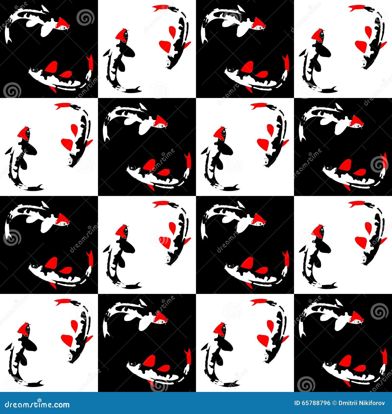 在棋背景的无缝的抽象几何样式与鱼