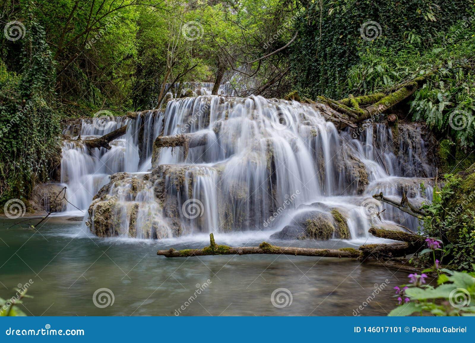 在森林中间的美丽的瀑布