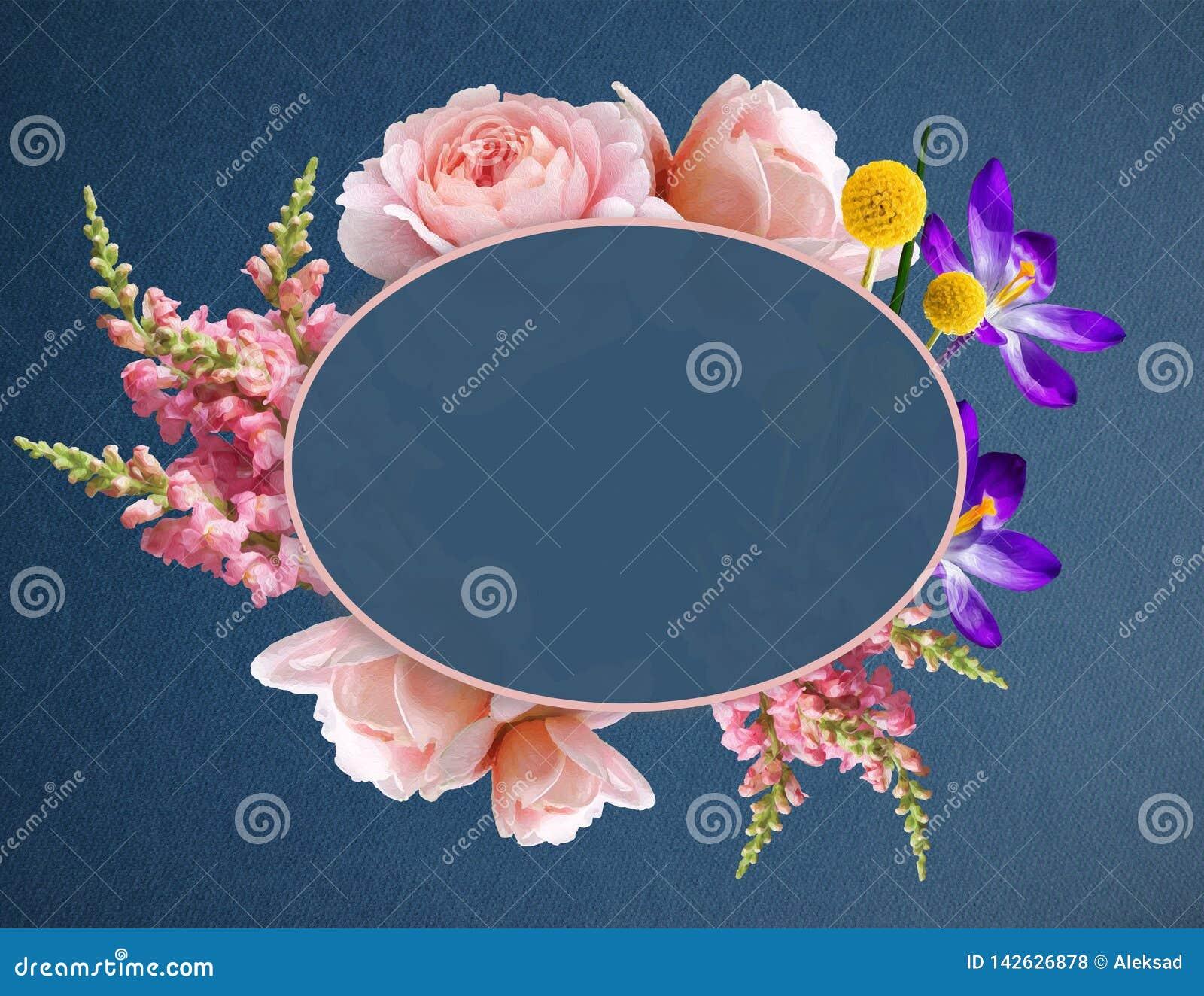 在横幅的美丽的Boho花的例证与拷贝空间 与玫瑰、番红花和其他植物的花花圈