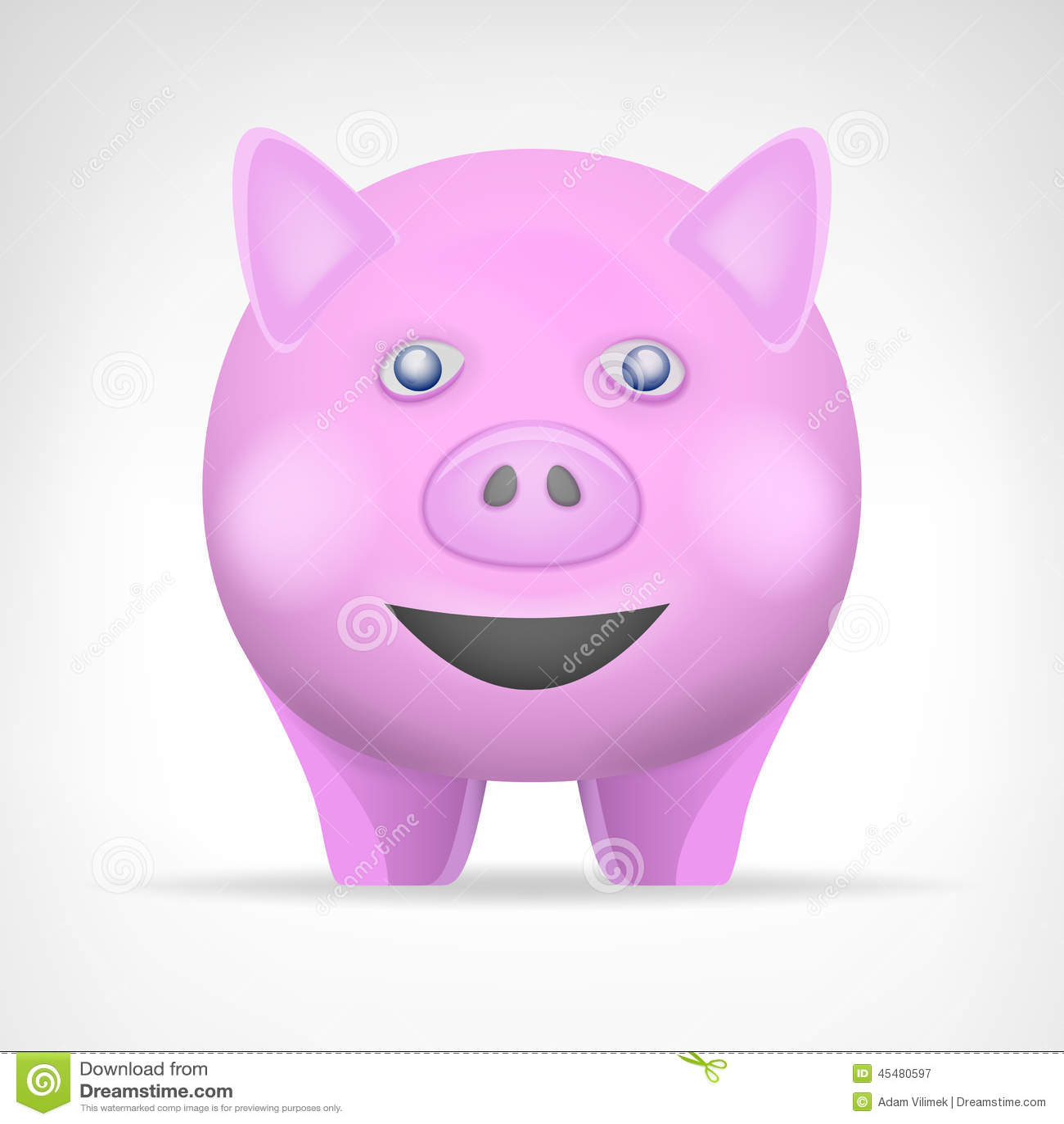 在正面图传染媒介的桃红色猪隔绝了动物