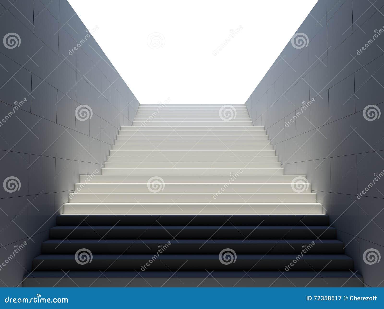 在步行地铁的空的白色台阶