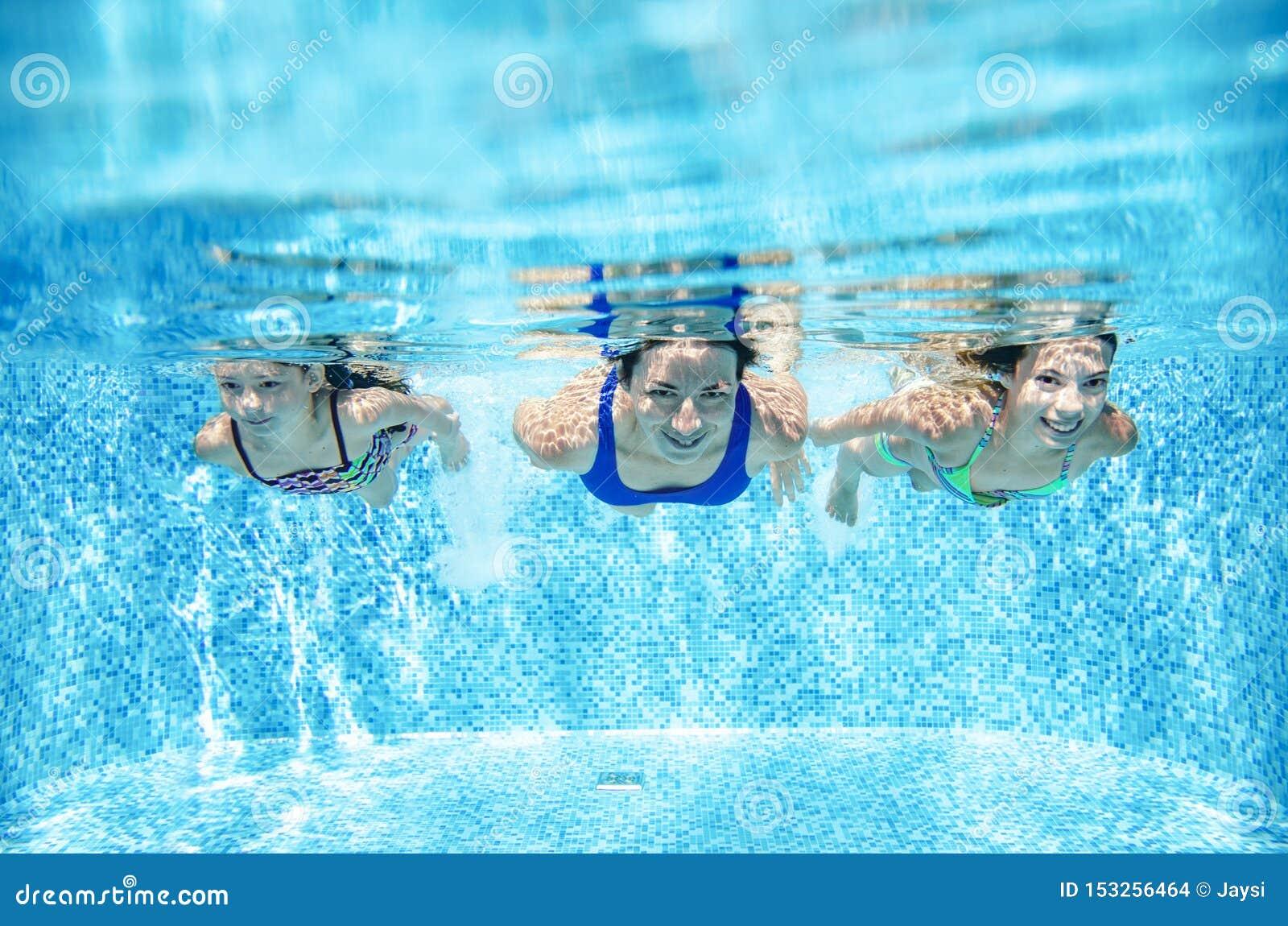 在水池水中、愉快的活跃母亲和孩子的家庭游泳获得乐趣在水、健身和体育下与孩子