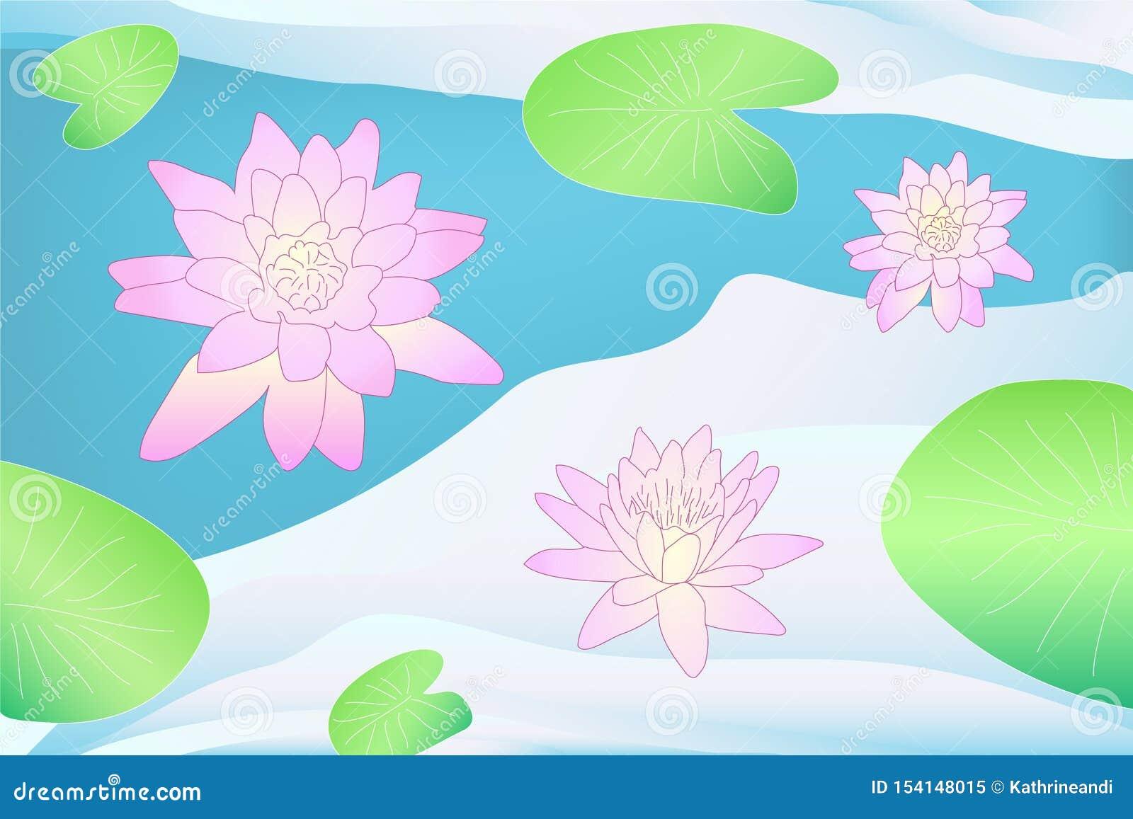在水的五颜六色的传染媒介莲花与叶子