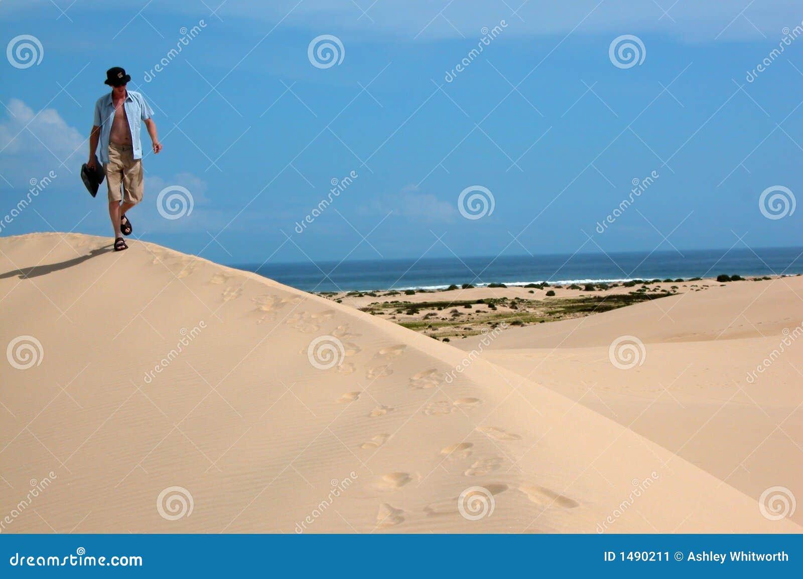 在沙丘间铺沙走