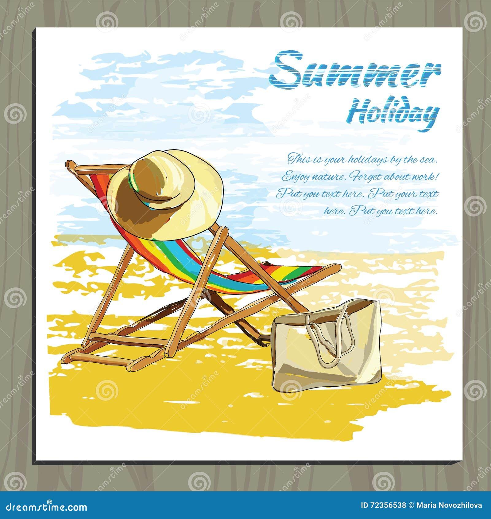在沙子的旅行五颜六色的热带设计可躺式椅与帽子