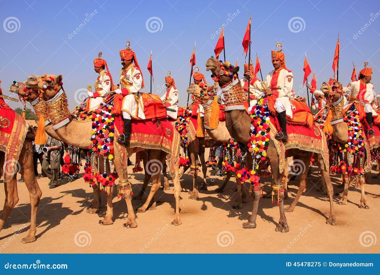 在沙漠节日的骆驼队伍, Jaisalmer,印度