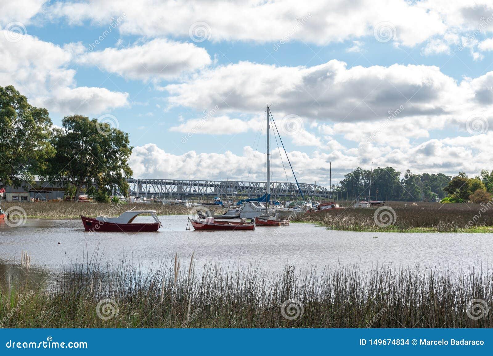 在河沼泽地的银行的小船