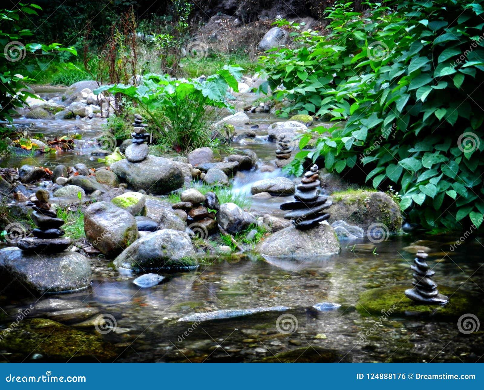 在河的被堆积的石头