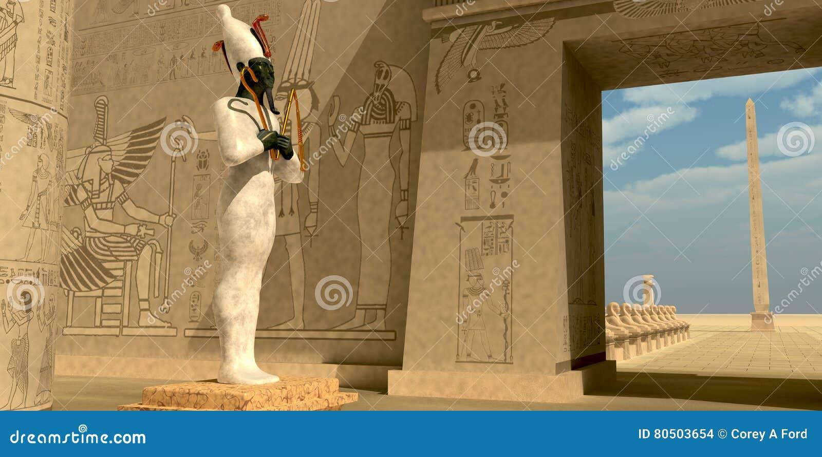 在法老王寺庙的Osiris雕象