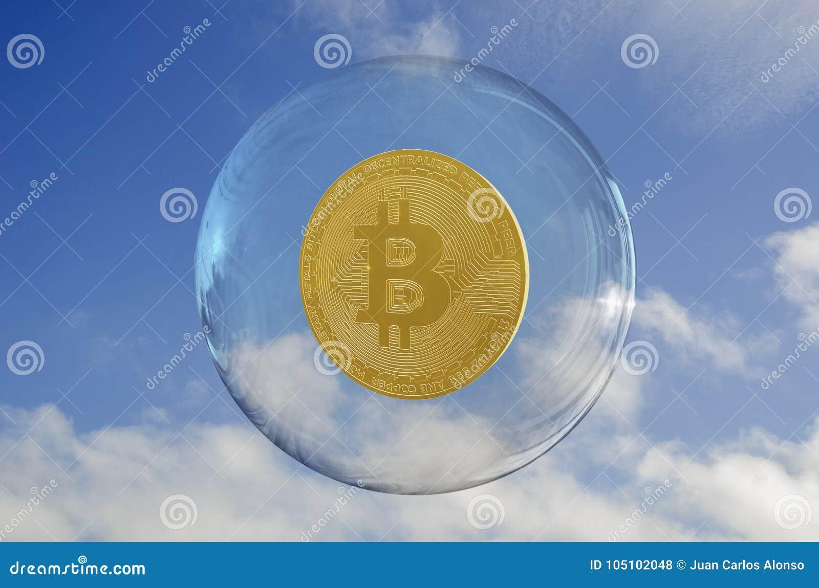 在泡影和天空里面的Bitcoin覆盖背景
