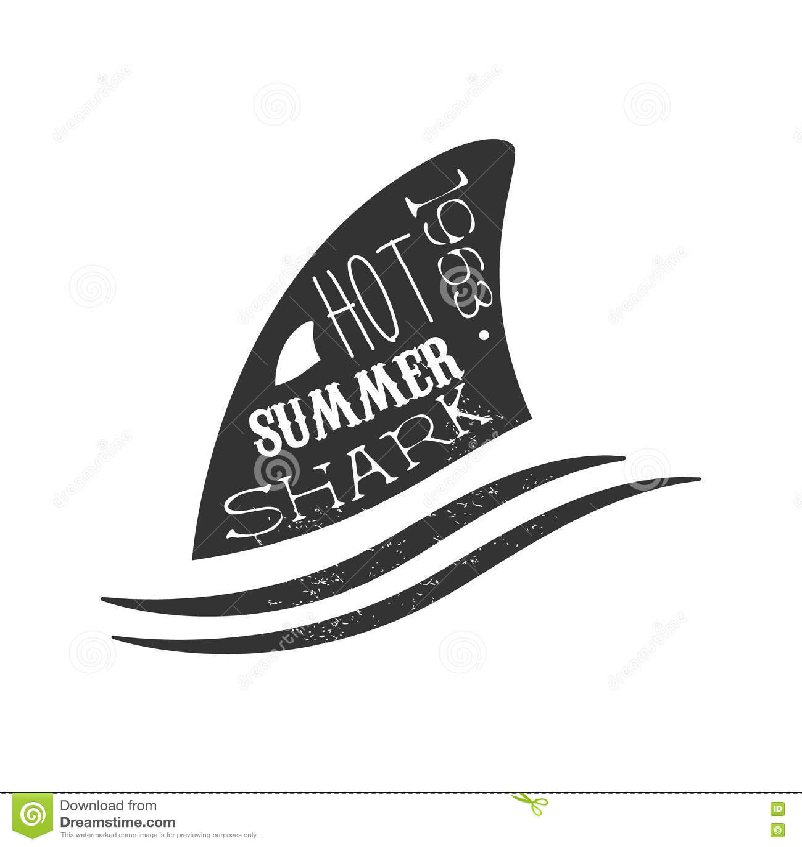 在波浪夏天海浪俱乐部黑白邮票上的鲨鱼飞翅与危险动物剪影模板
