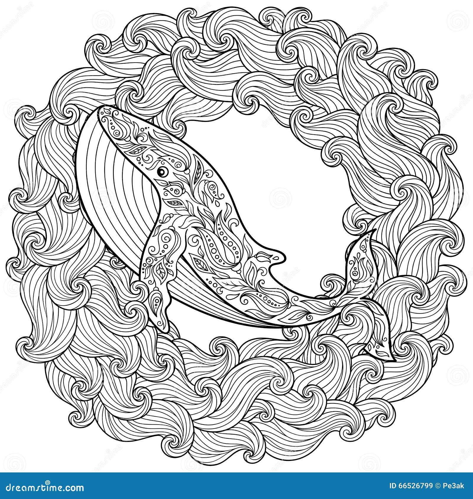 在波浪的手拉的鲸鱼反重音着色页的