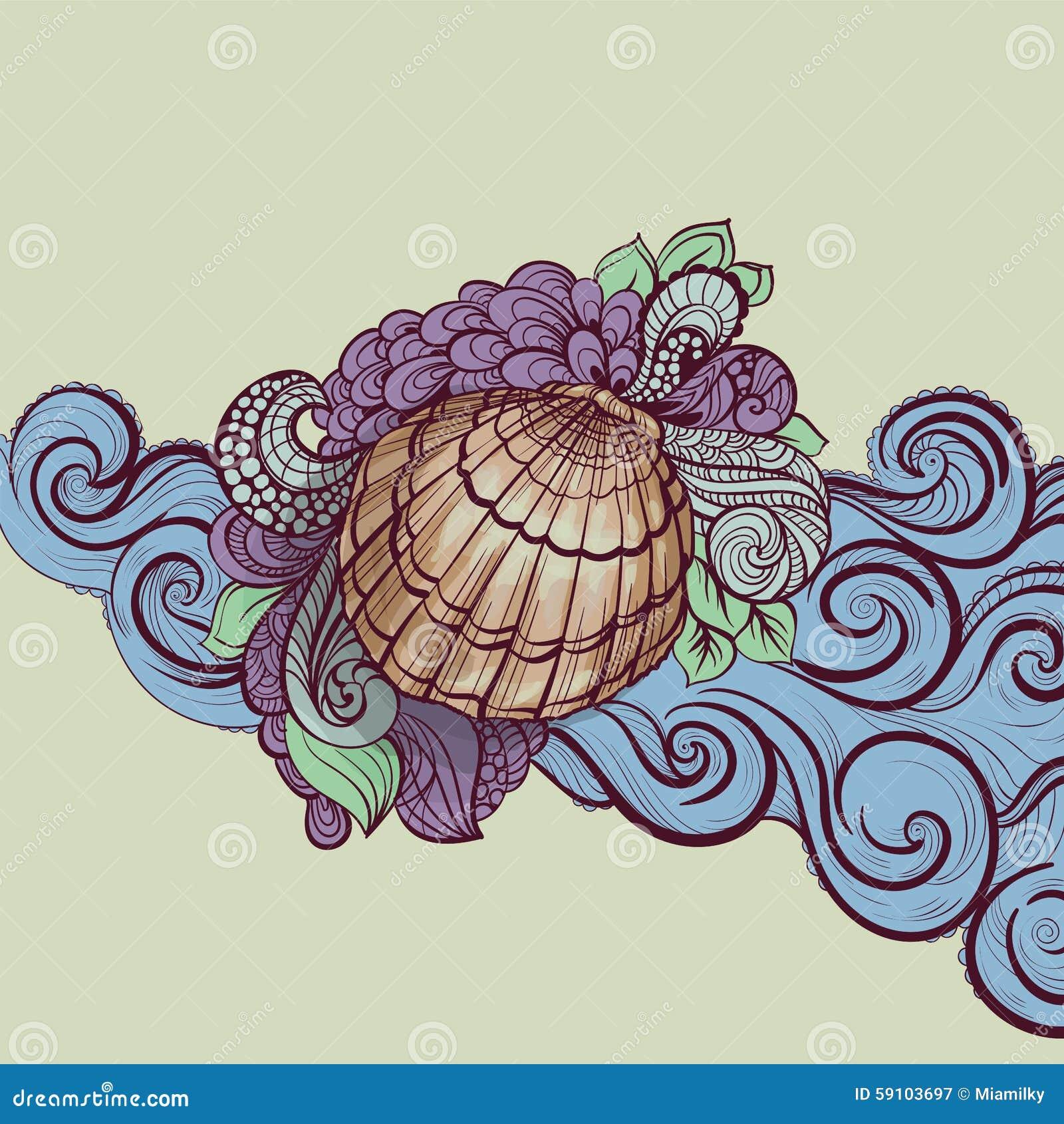 在波浪的贝壳