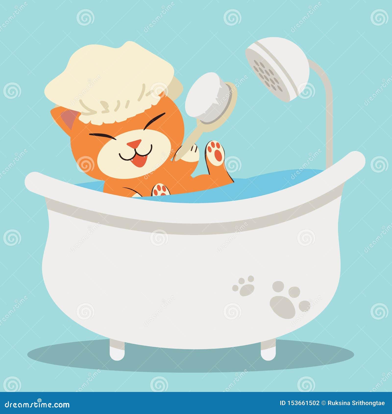在浴缸的一只逗人喜爱的字符动画片猫