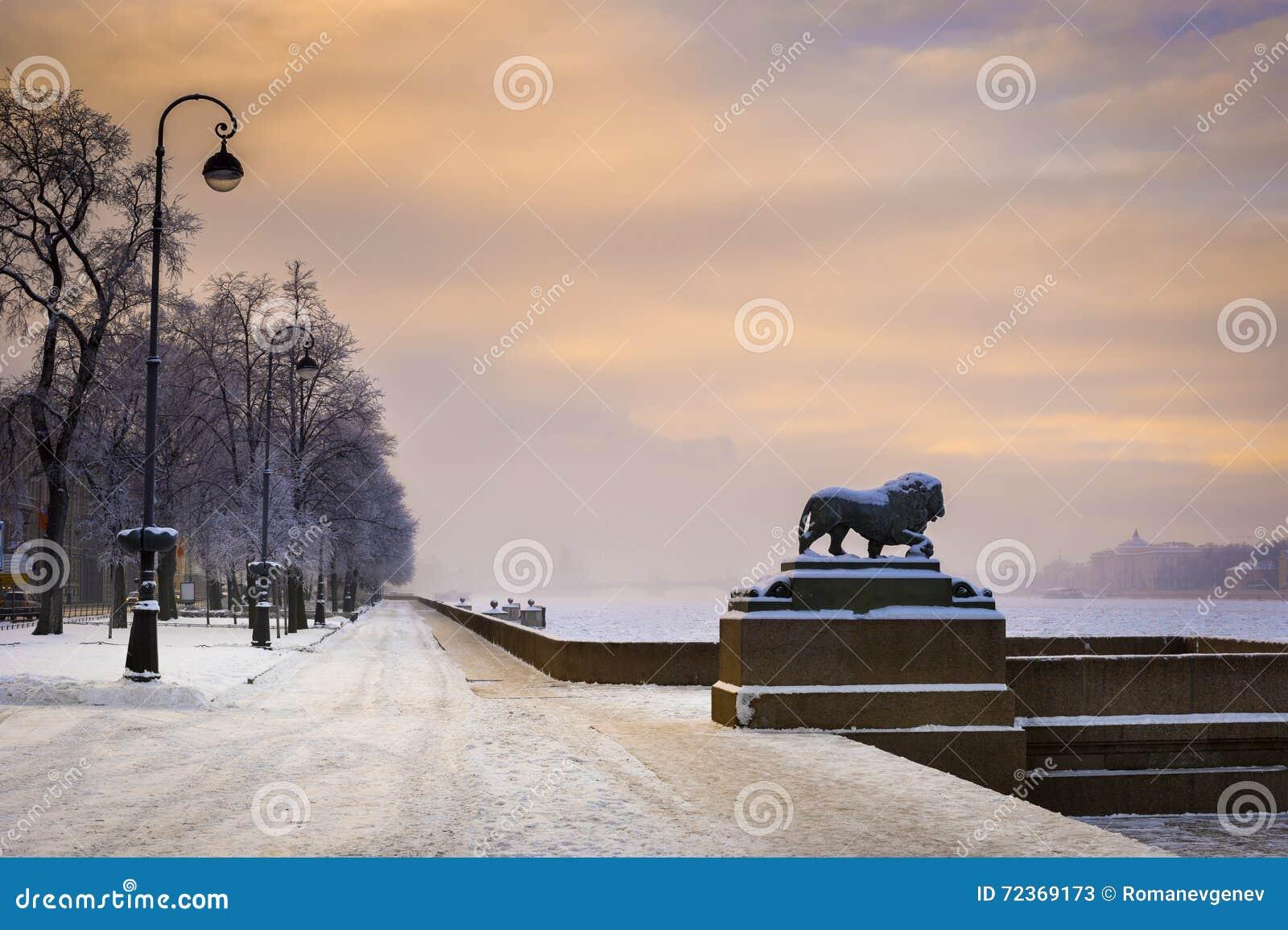 在海军部堤防的狮子,圣彼德堡,俄罗斯