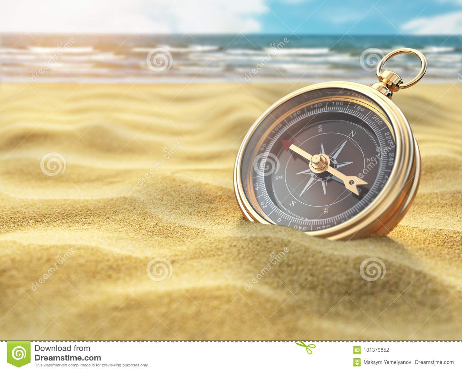 在海沙的指南针 旅行目的地和航海概念