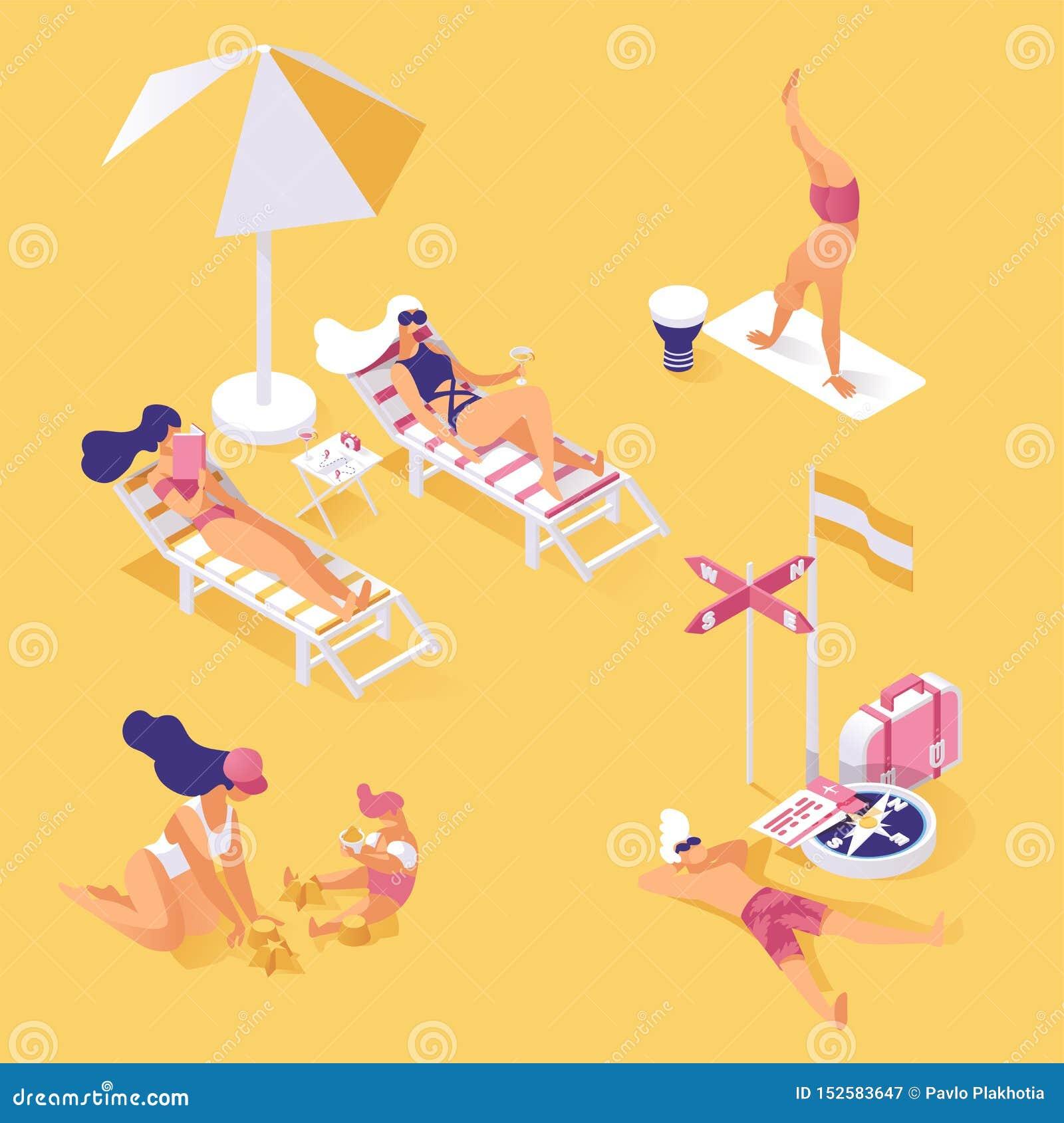 在海滨等量例证的暑假 享受夏令时假日,放松和小睡在含沙的人们