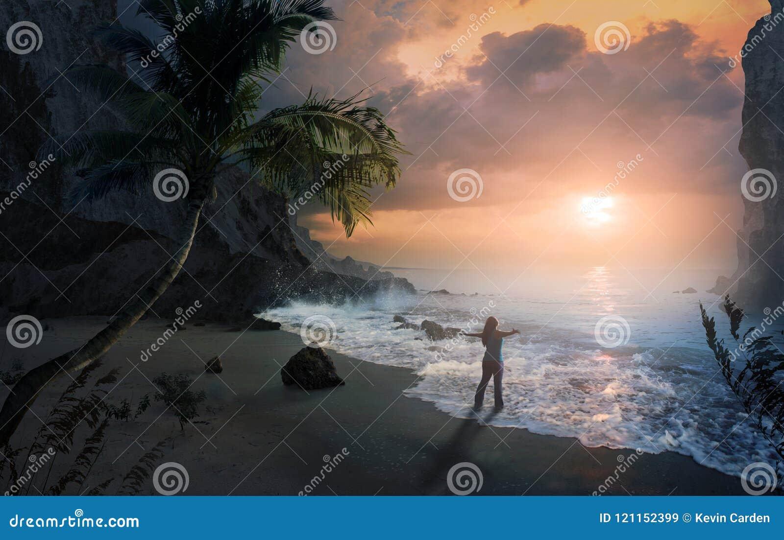 在海滩的称赞