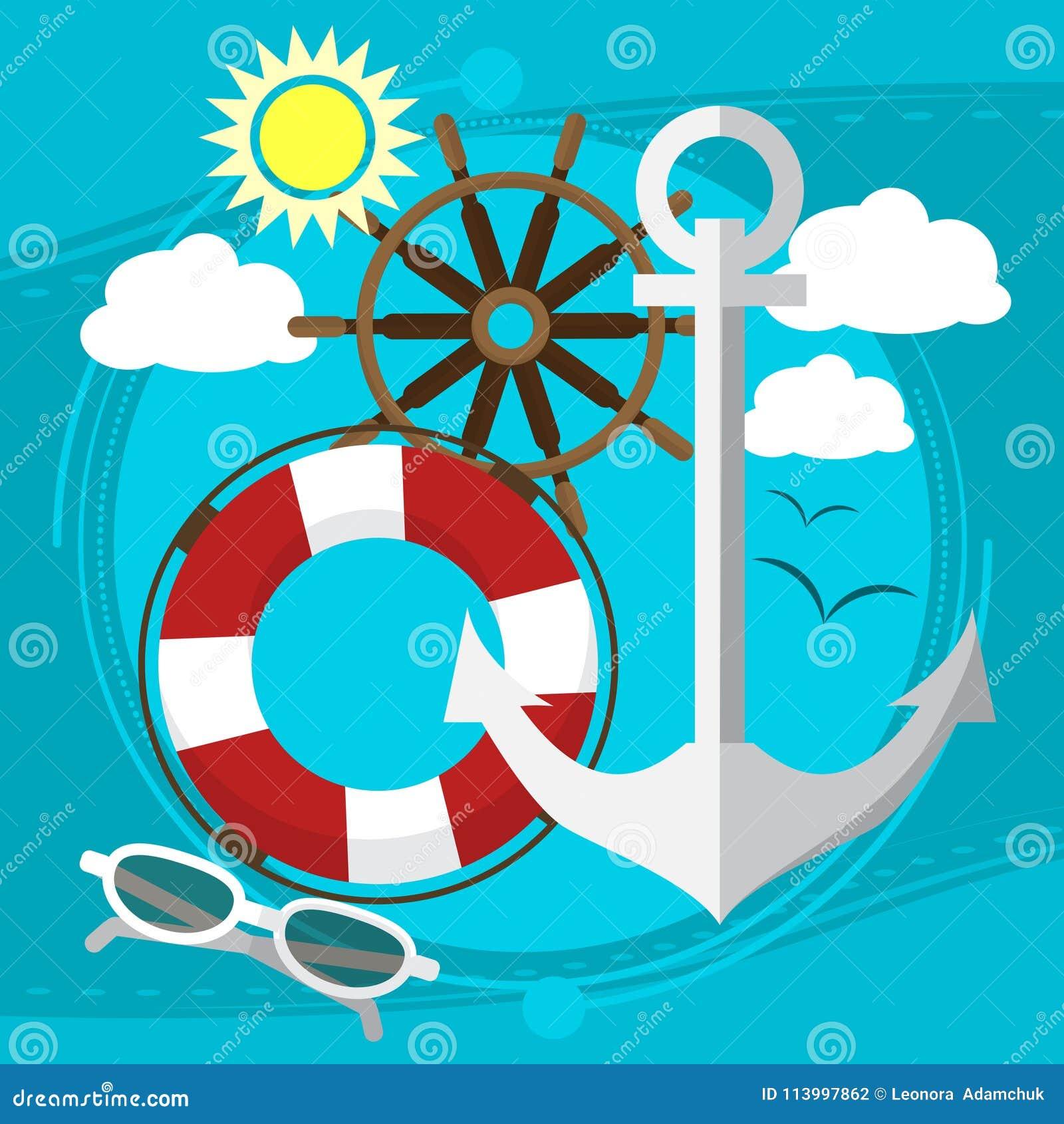 在海的晴朗的天气,在小船的游泳有在太阳镜的一根保险索的 海鸥在背景中