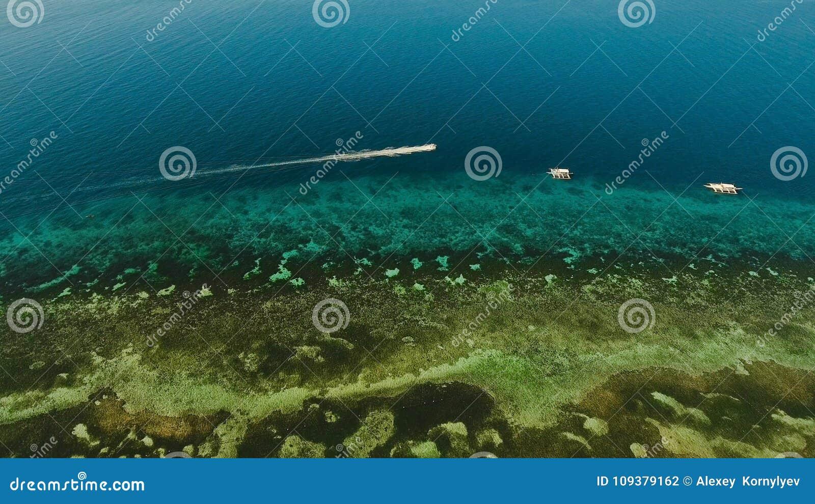 在海的汽艇,鸟瞰图