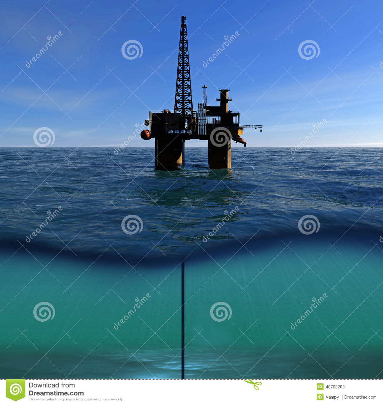 在海的石油平台