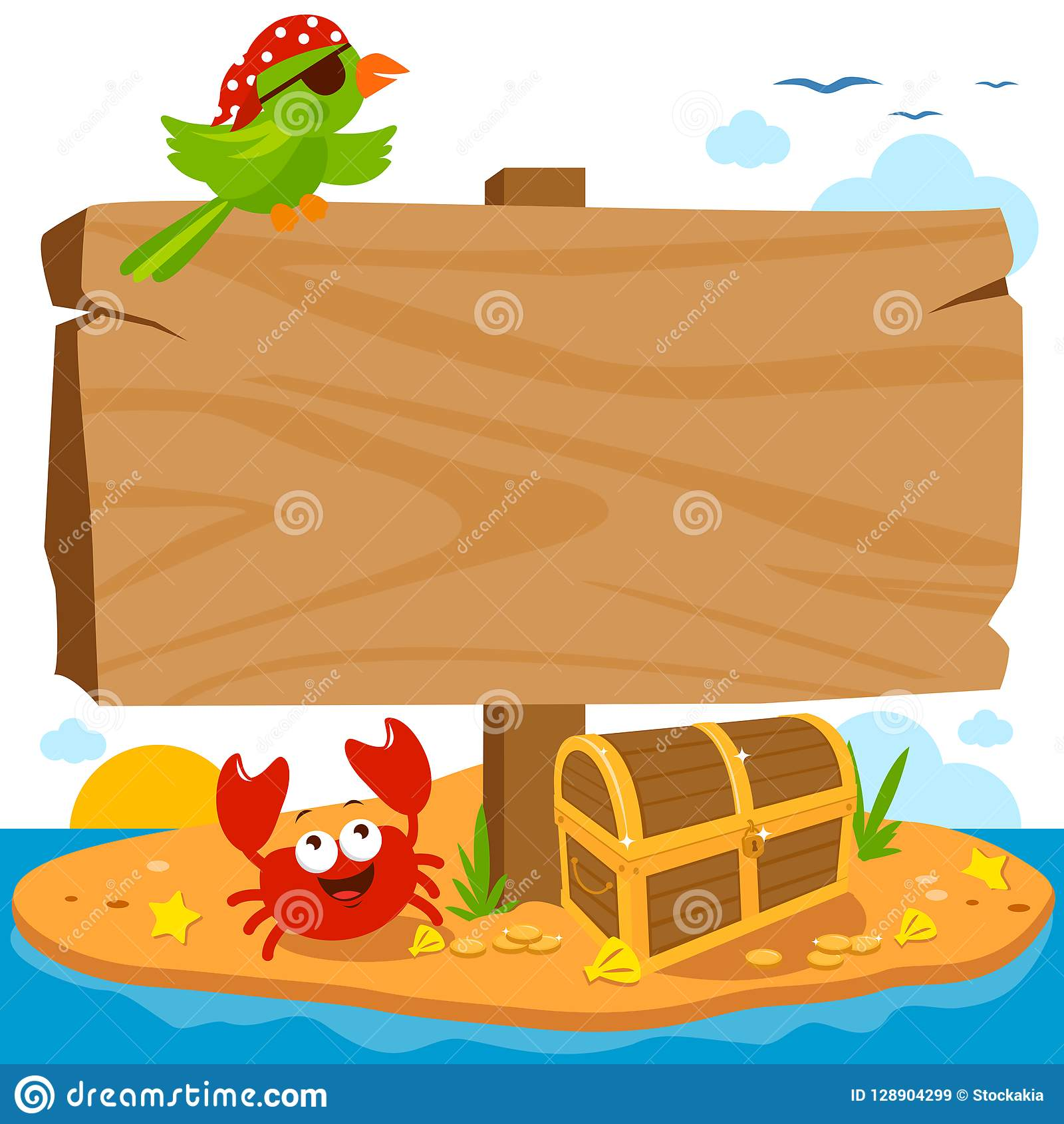 在海盗海岛上的木路标