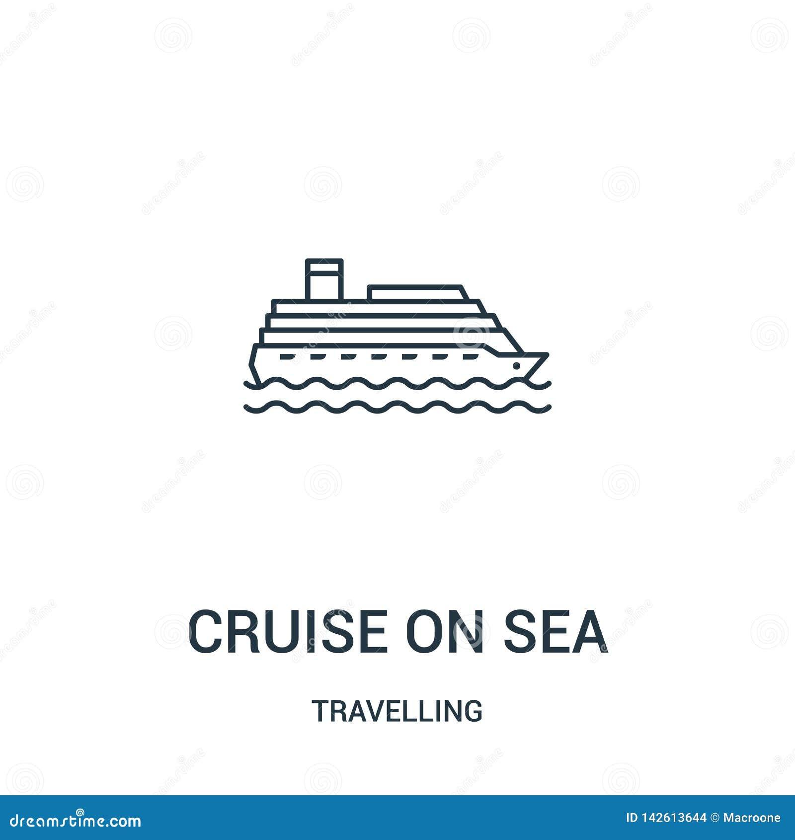 在海象传染媒介的巡航从旅行的收藏 在海概述象传染媒介例证的稀薄的线巡航 r