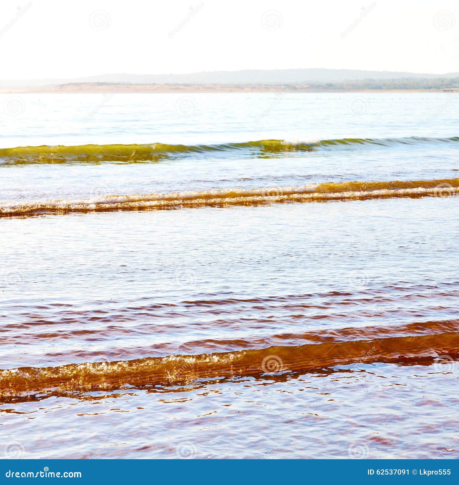 在海非洲海浪和lanscape的摘要