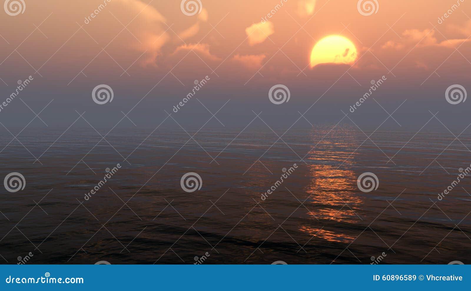 在海洋或海水的阴沉的日落