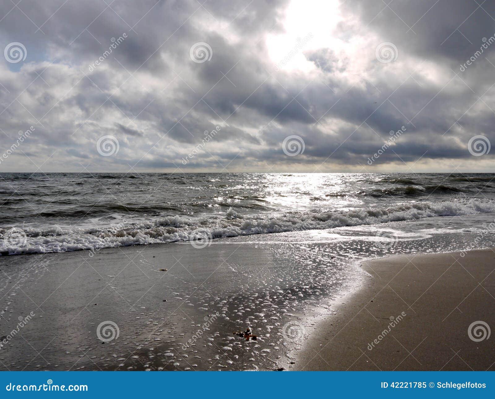 在海洋海滩背景的日落.图片