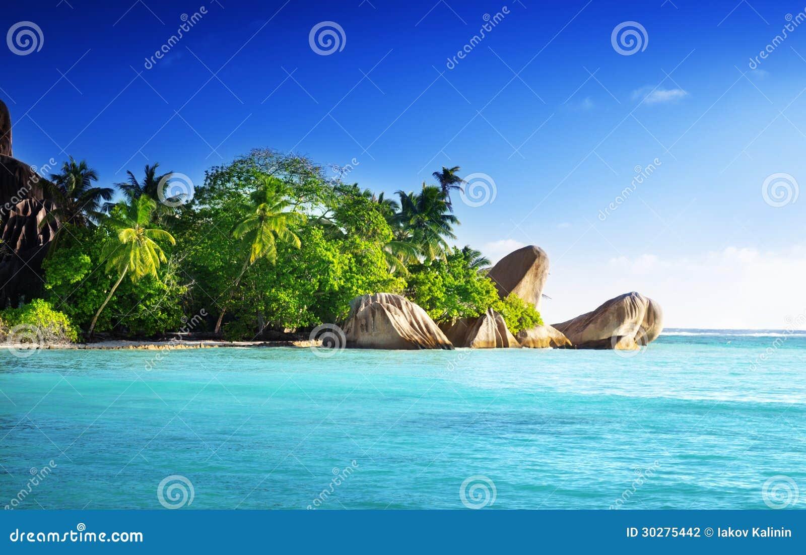 在海滩的日落, d Argent Anse的来源, La Digue海岛
