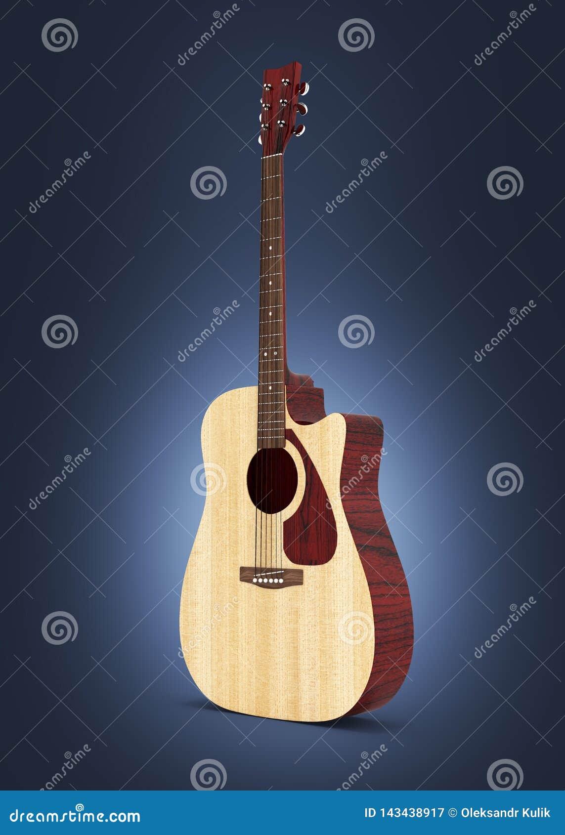 在深蓝梯度背景3d的声学吉他