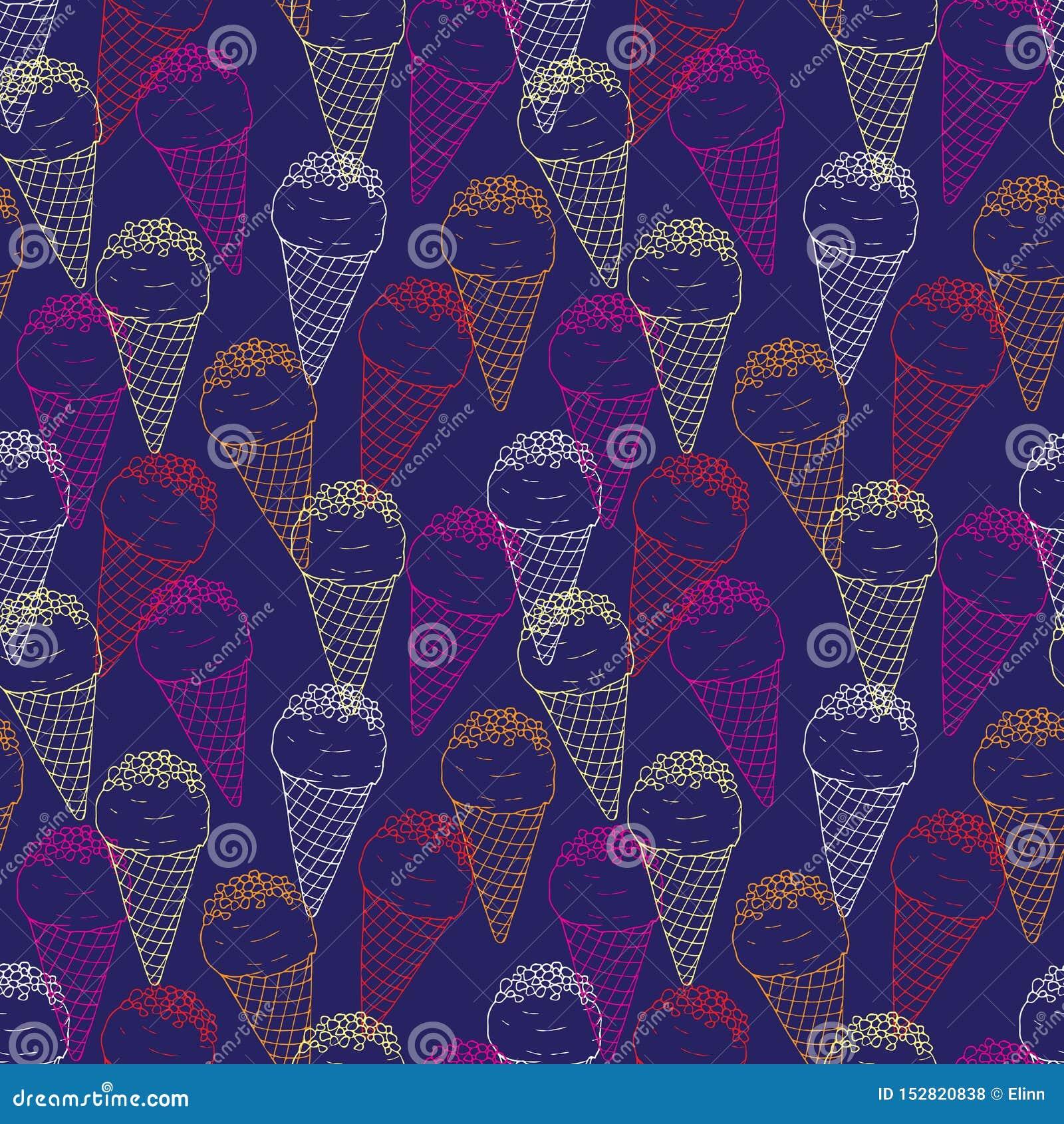 在深蓝背景的冰淇淋五颜六色的概述无缝的样式