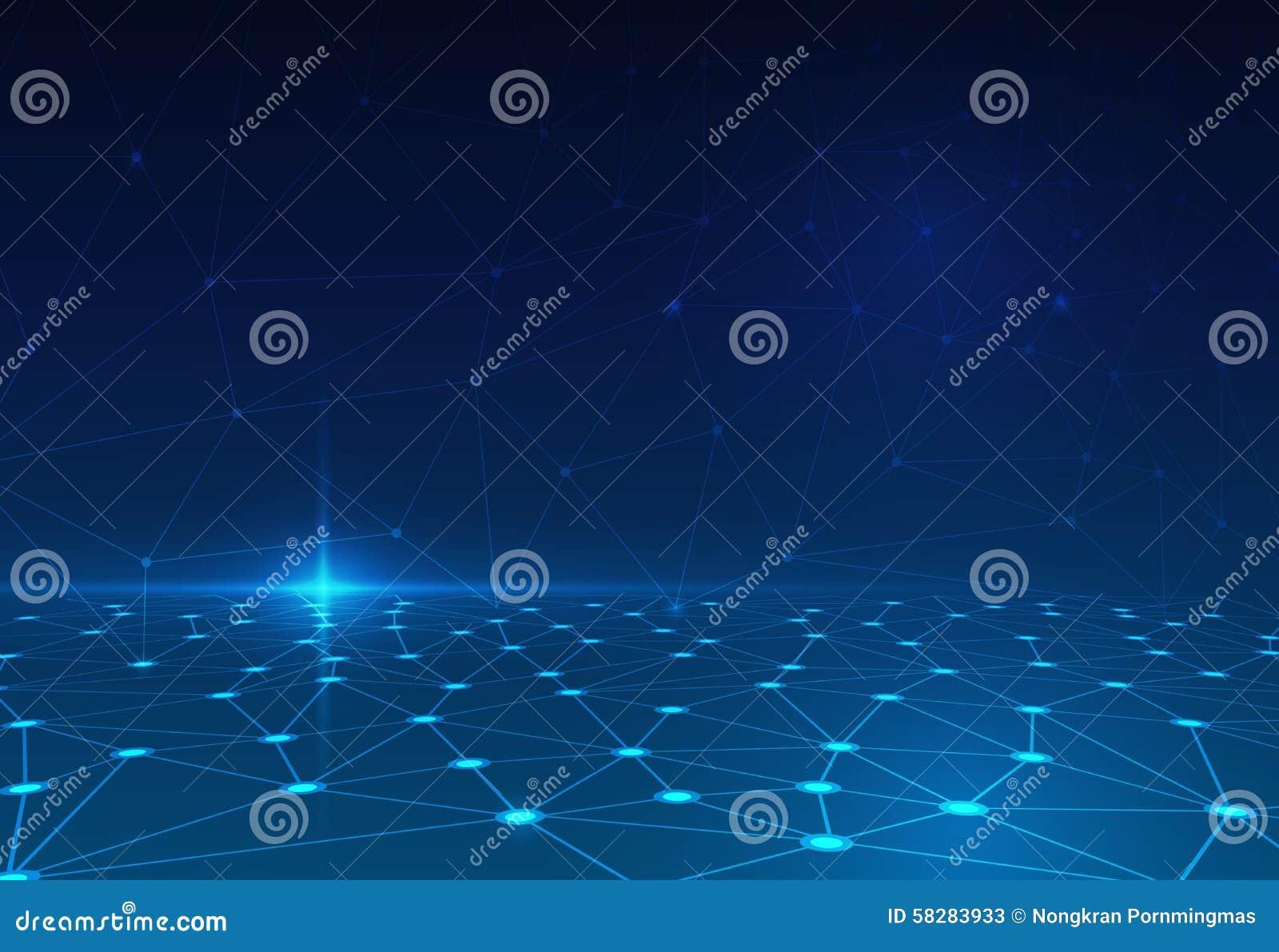 在深蓝背景的抽象分子 未来派技术概念的网络