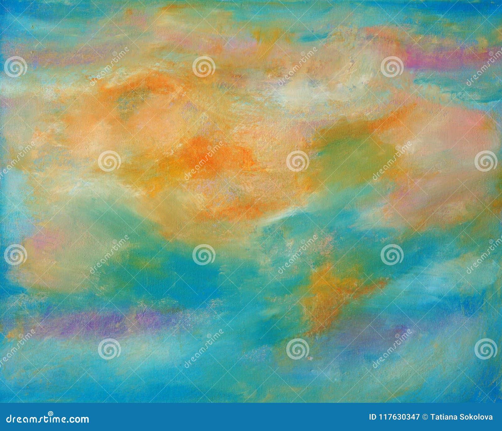 在温暖的颜色的抽象帆布