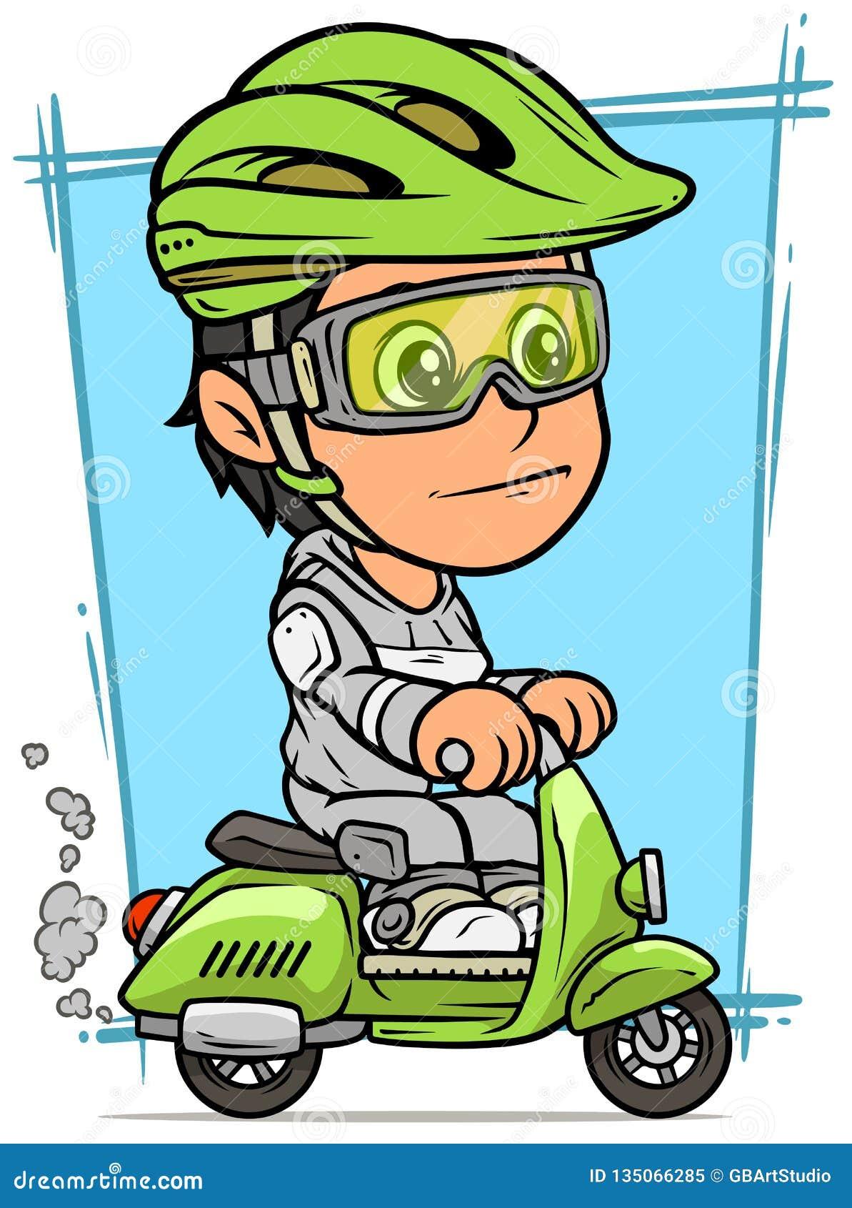 在滑行车的动画片深色的女孩字符骑马