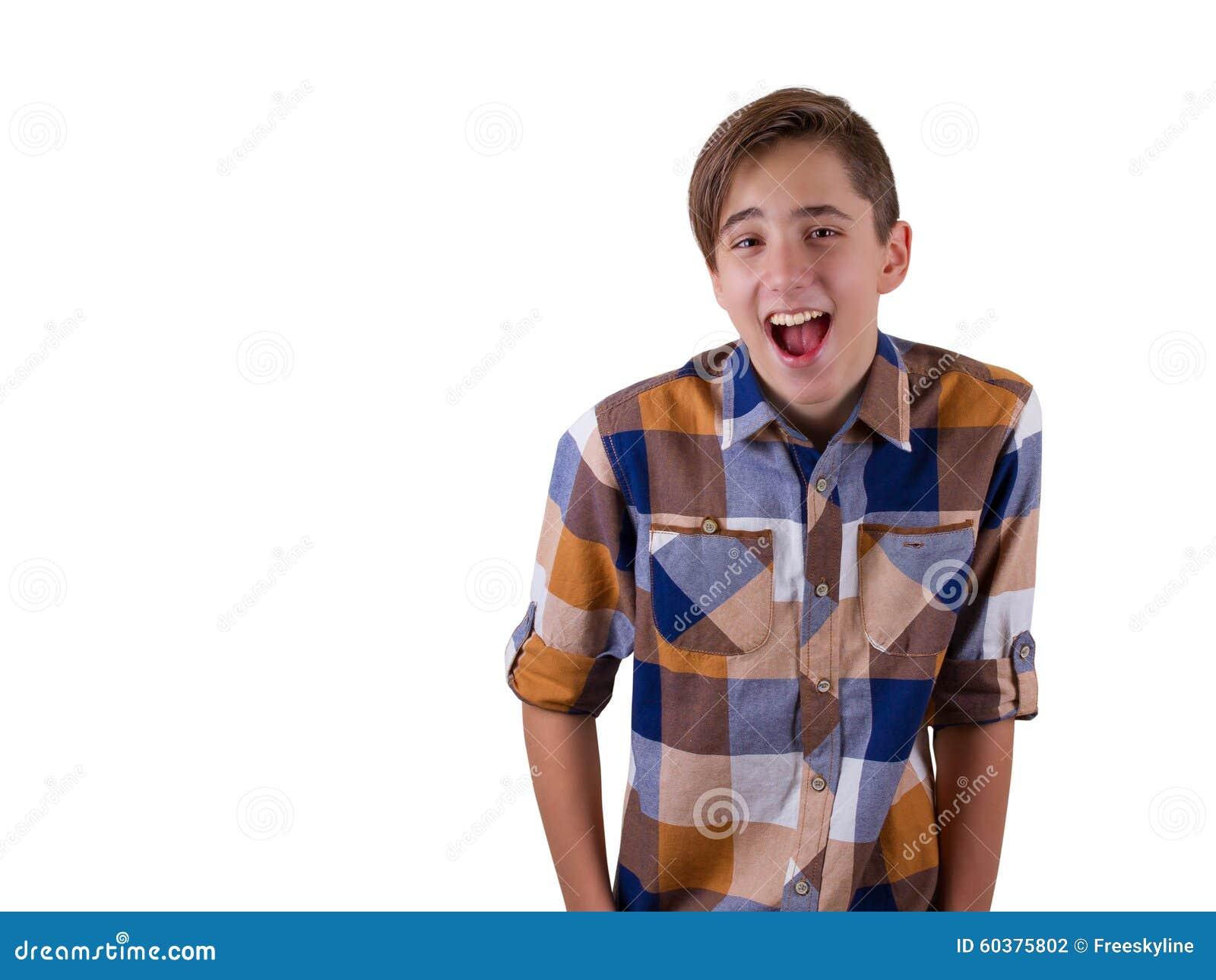 在演播室被拍摄的可爱的青少年的男孩画象  背景查出的白色