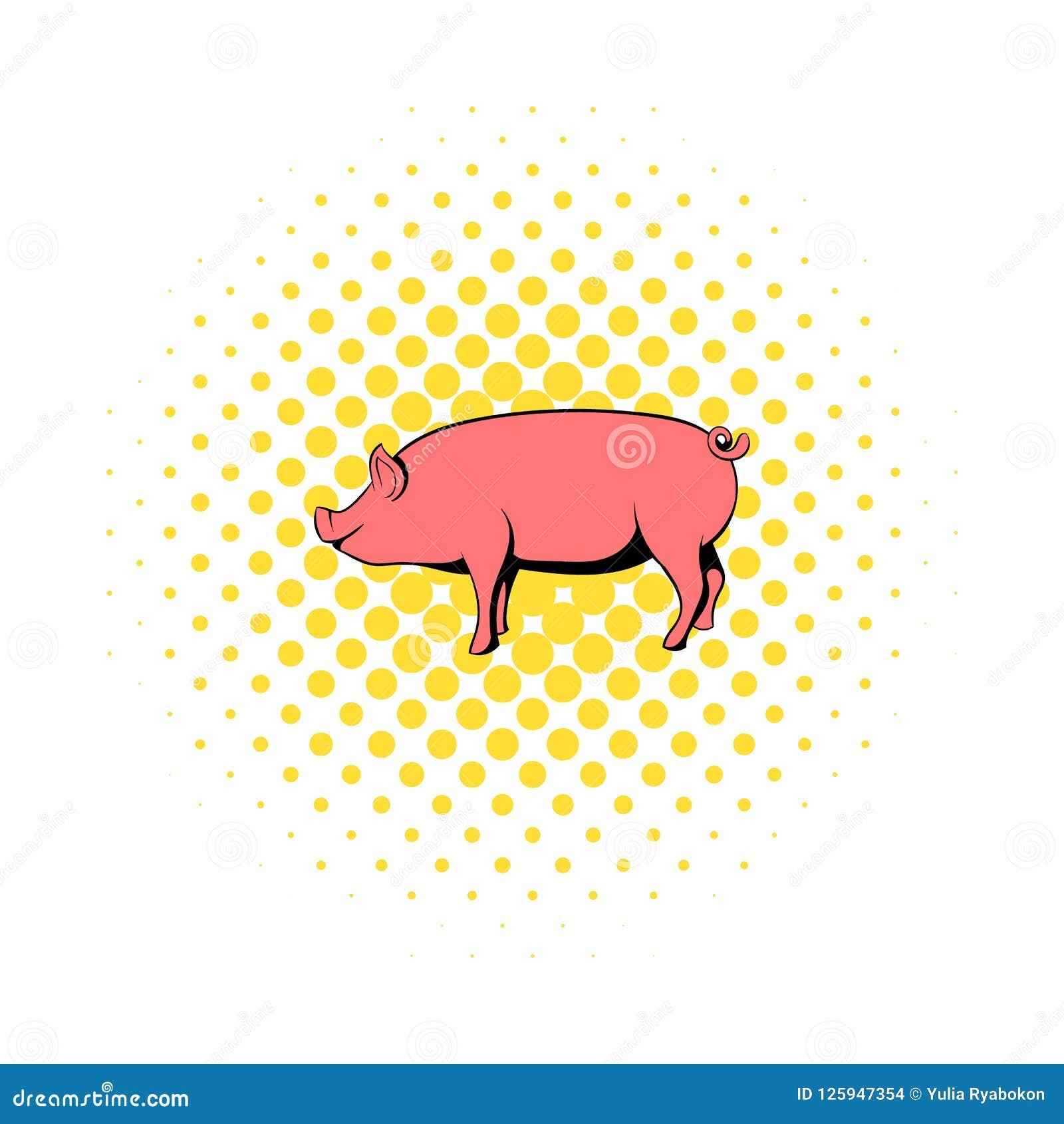 在漫画样式的猪象