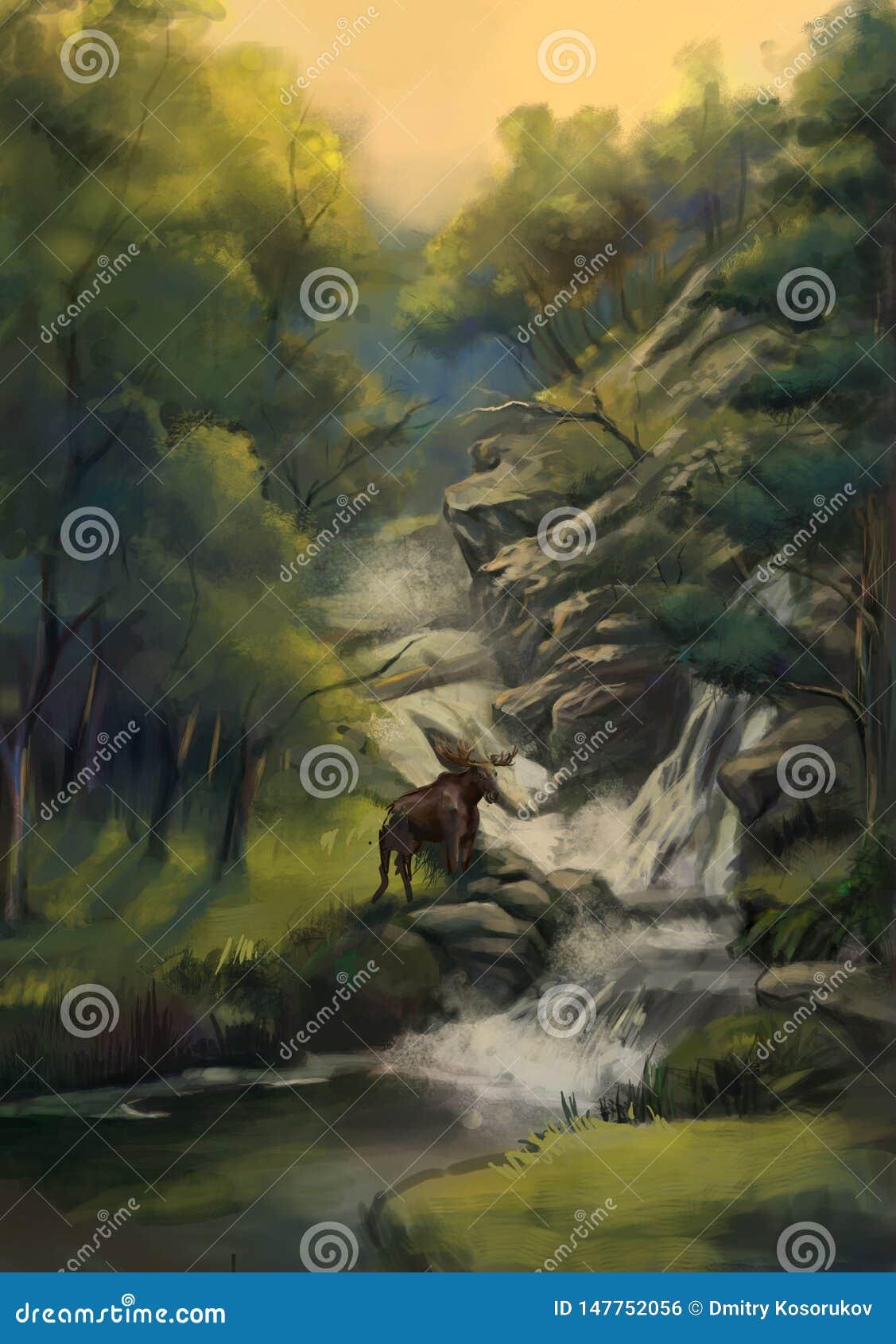 在瀑布附近的森林鹿