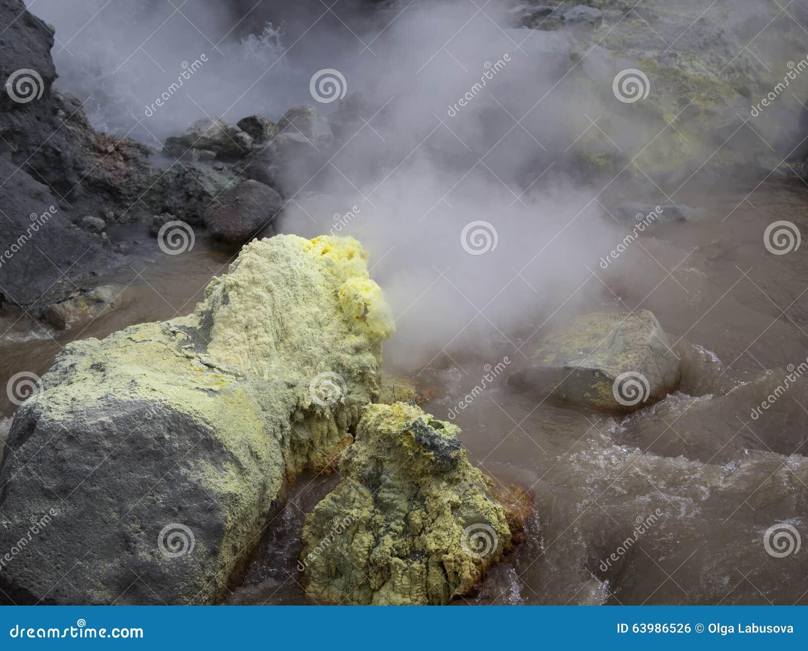 在火山口活跃穆特洛夫斯基火山火山的硫磺喷气孔 俄罗斯,
