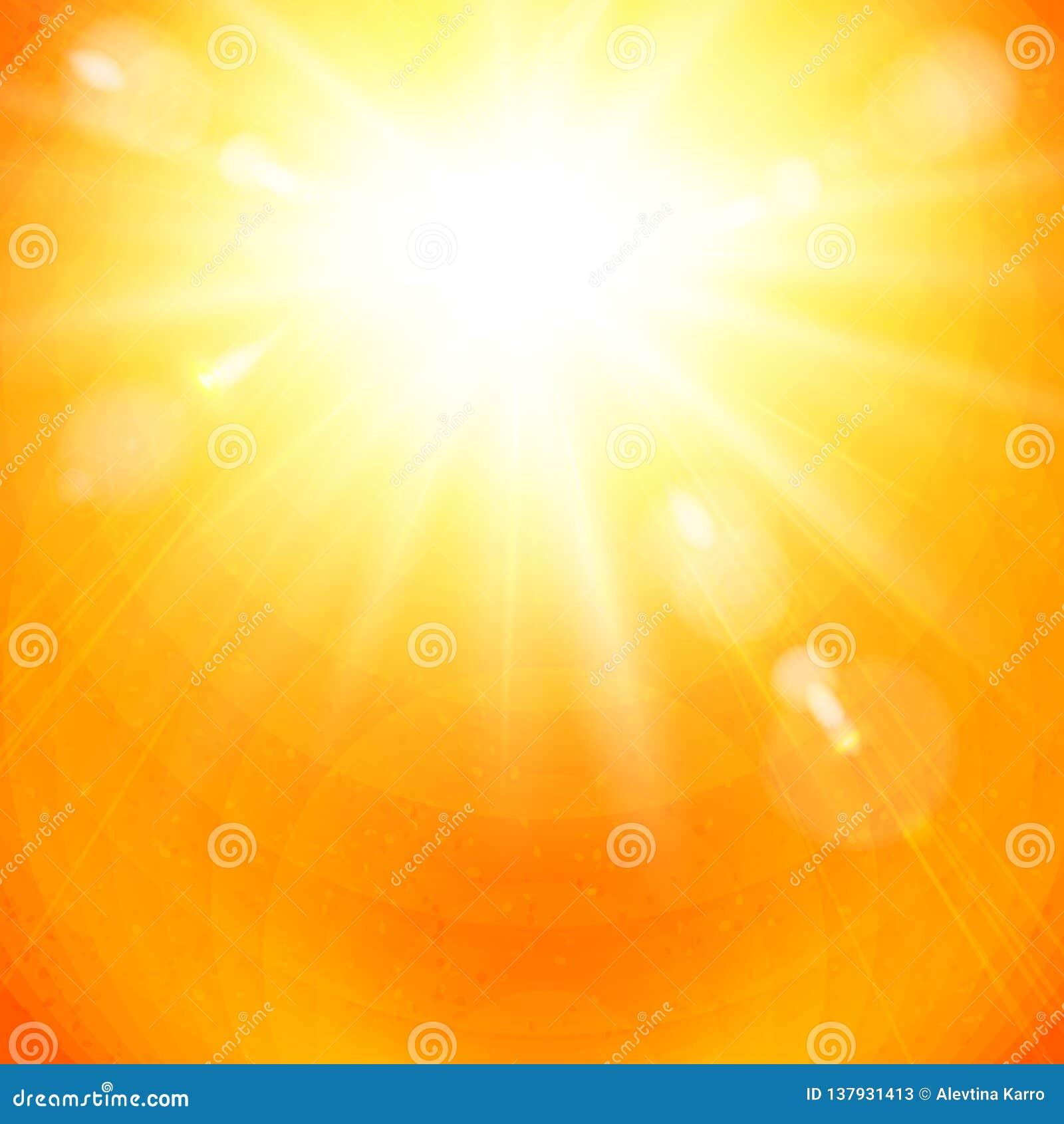 在火热的橙色天空的剧烈的金黄旭日形首饰