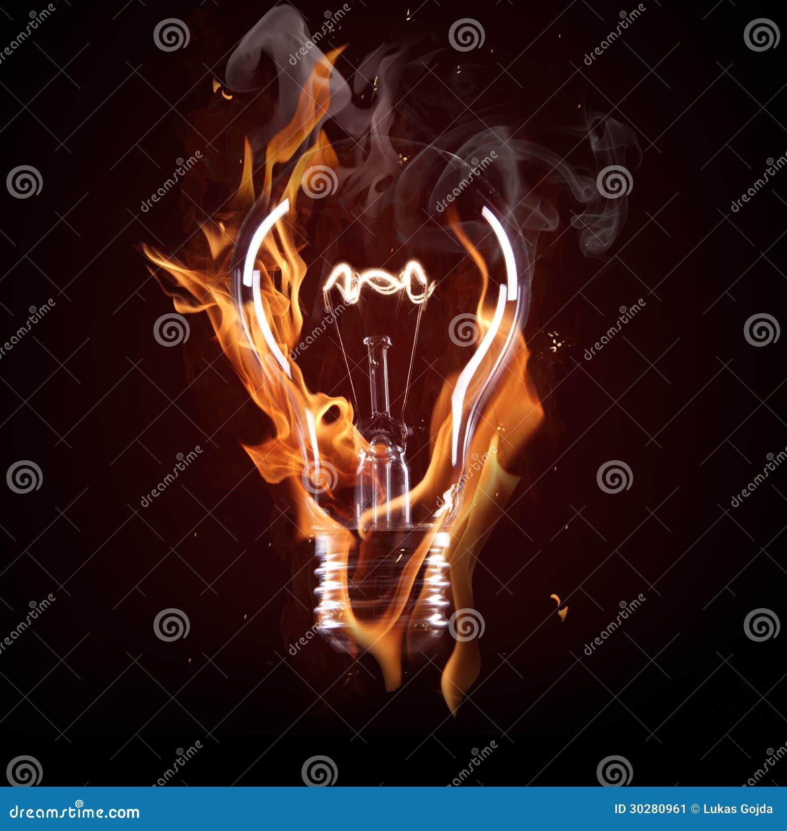 在火的电灯泡