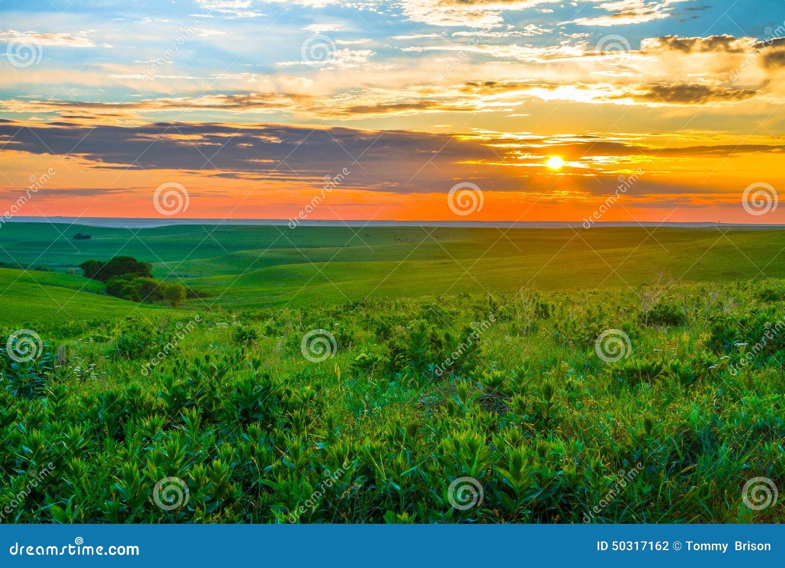 在火石小山的堪萨斯日落