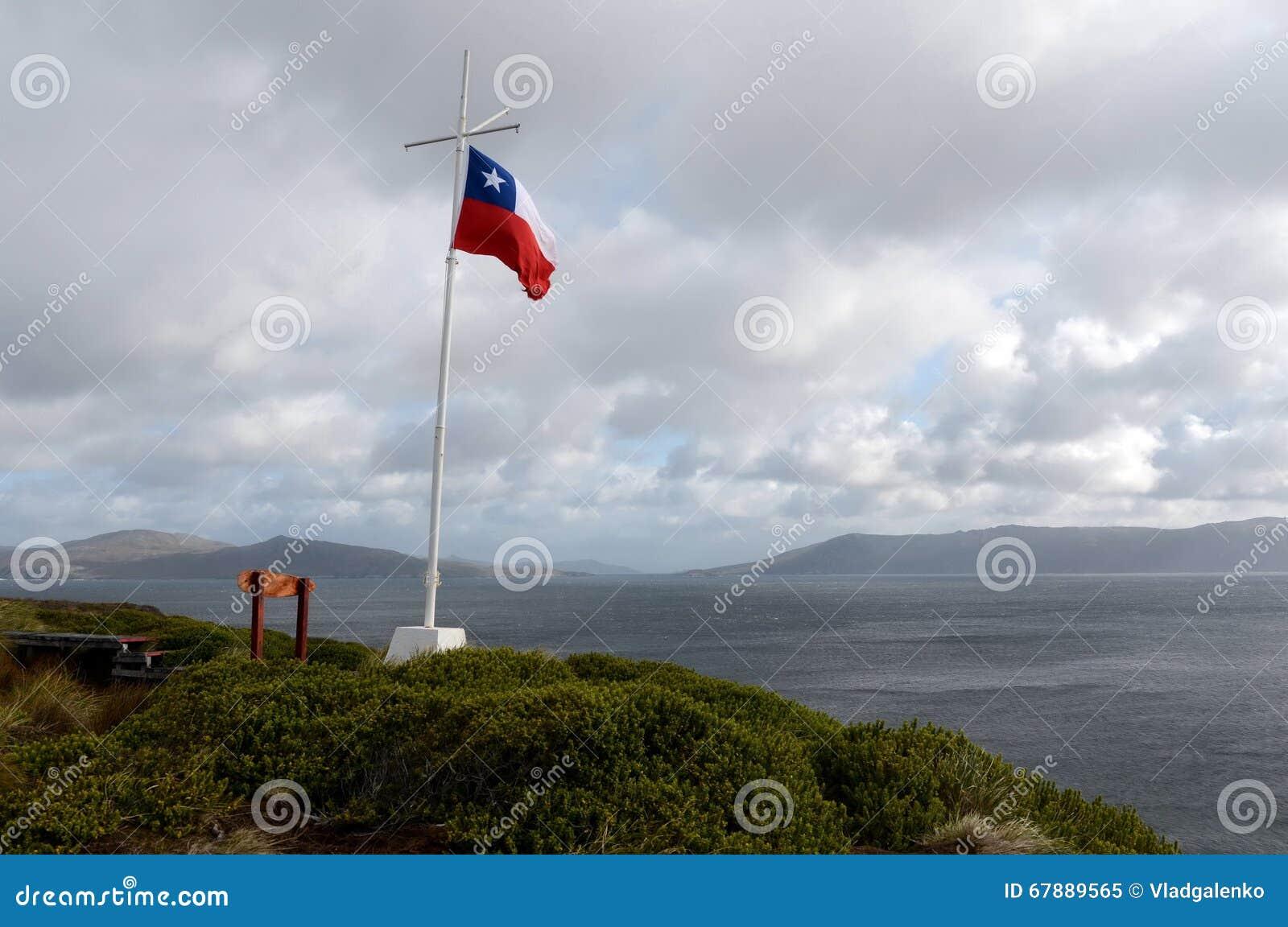 在灯塔的智利旗子在合恩角