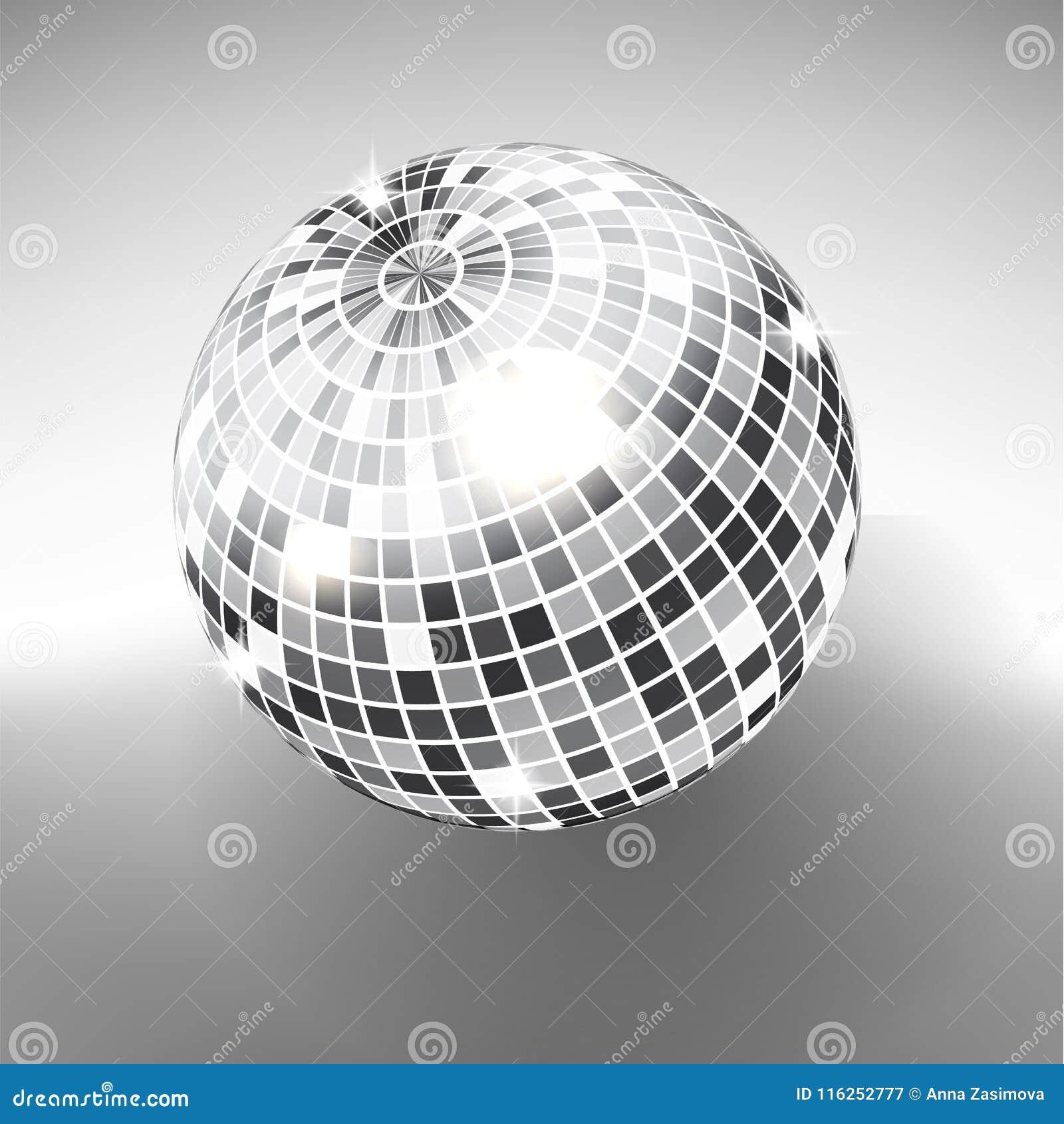 在灰色极谱背景隔绝的迪斯科球 夜总会党光元素 迪斯科舞蹈俱乐部的明亮的镜子银球设计