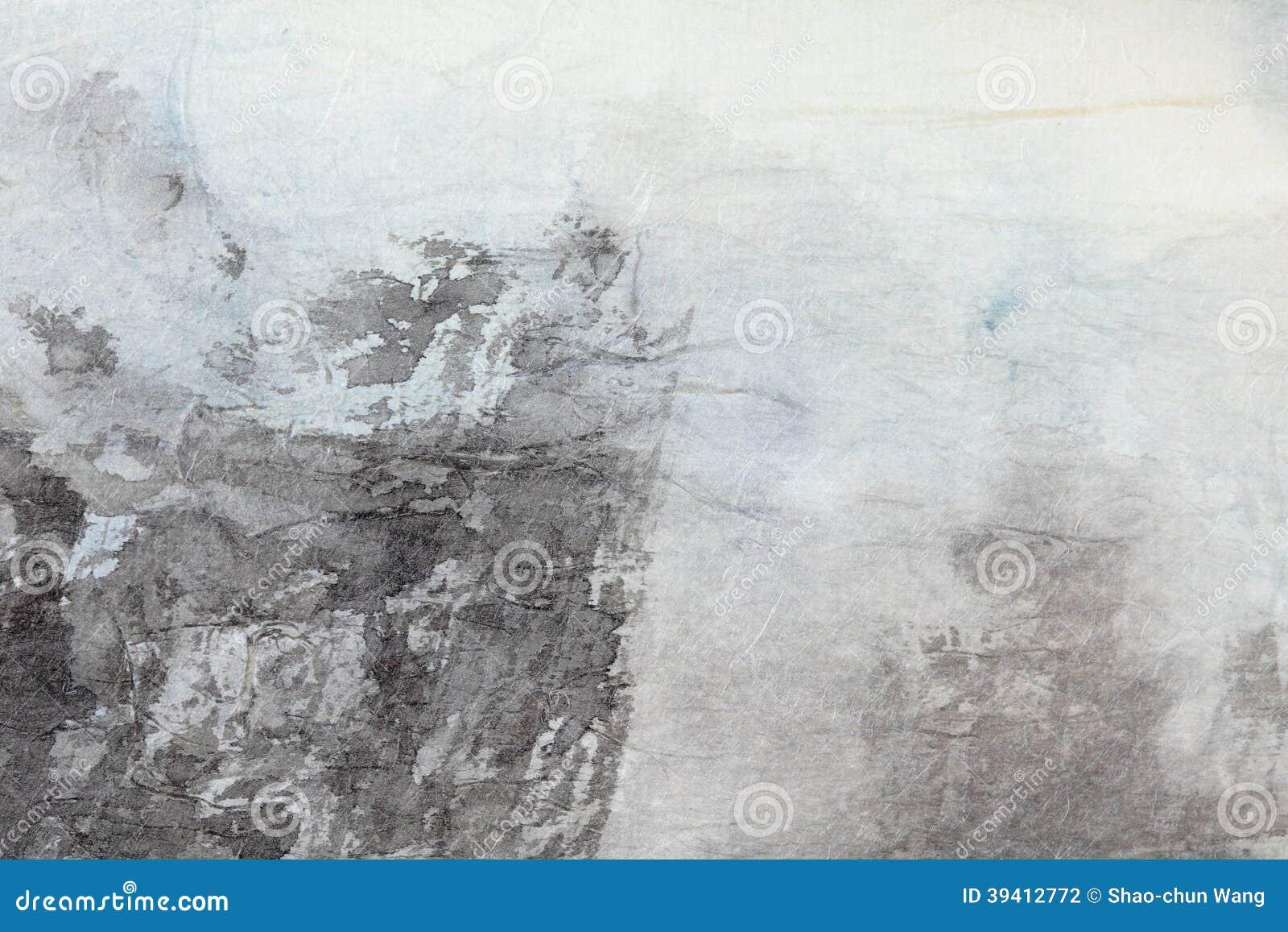在灰色纸的抽象国画艺术